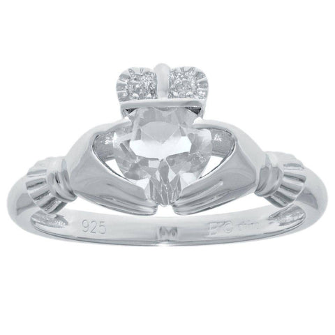 Image of Sterling Silver Heart-Shaped Birthstone Claddagh Ring with Diamond Accent