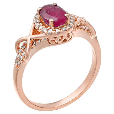 10K Gold Genuine Oval Gemstone 1/4 ct. TDW Diamond Ring