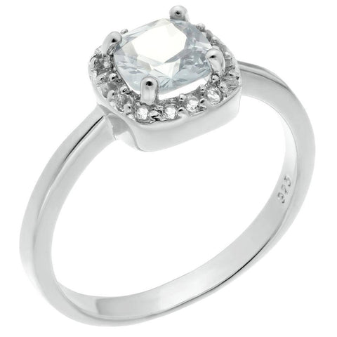 Sterling Silver Cushion-shaped Birthstone and White Topaz Halo Ring