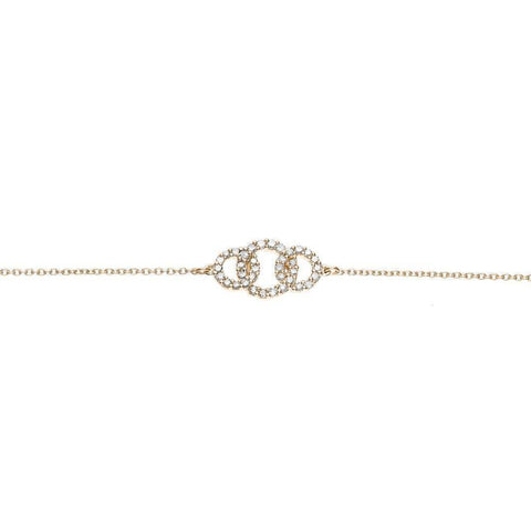 Lavari -  0.20 cttw 3 Circle Diamond Bracelet - Yellow Gold, Rose Gold - Women's