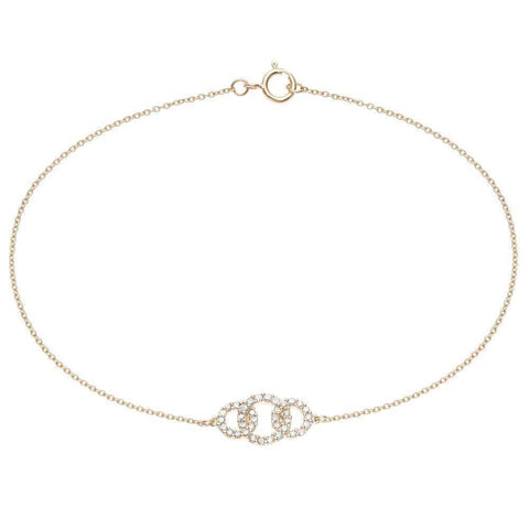 Lavari Jewelers -  0.20 cttw 3 Circle Diamond Bracelet - Yellow Gold, Rose Gold - Women's