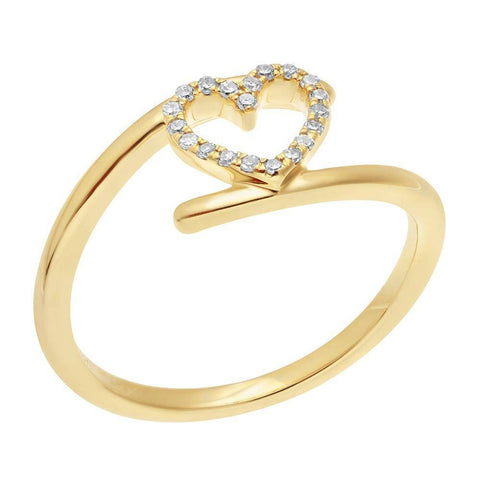 Image of 10K Gold Heart Bypass Ring with 1/10 ct. TDW Diamonds
