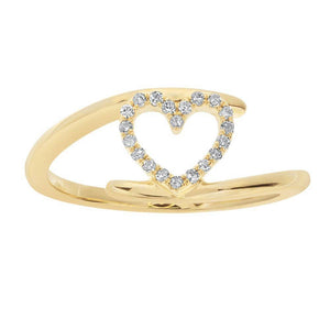 10K Gold Heart Bypass Ring with 1/10 ct. TDW Diamonds