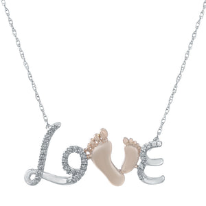 "Lavari - Women's 10K ""Love"" Necklace with Diamonds - Sterling Silver"