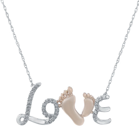 "Image of Lavari - Women's 10K ""Love"" Necklace with Diamonds - Sterling Silver"