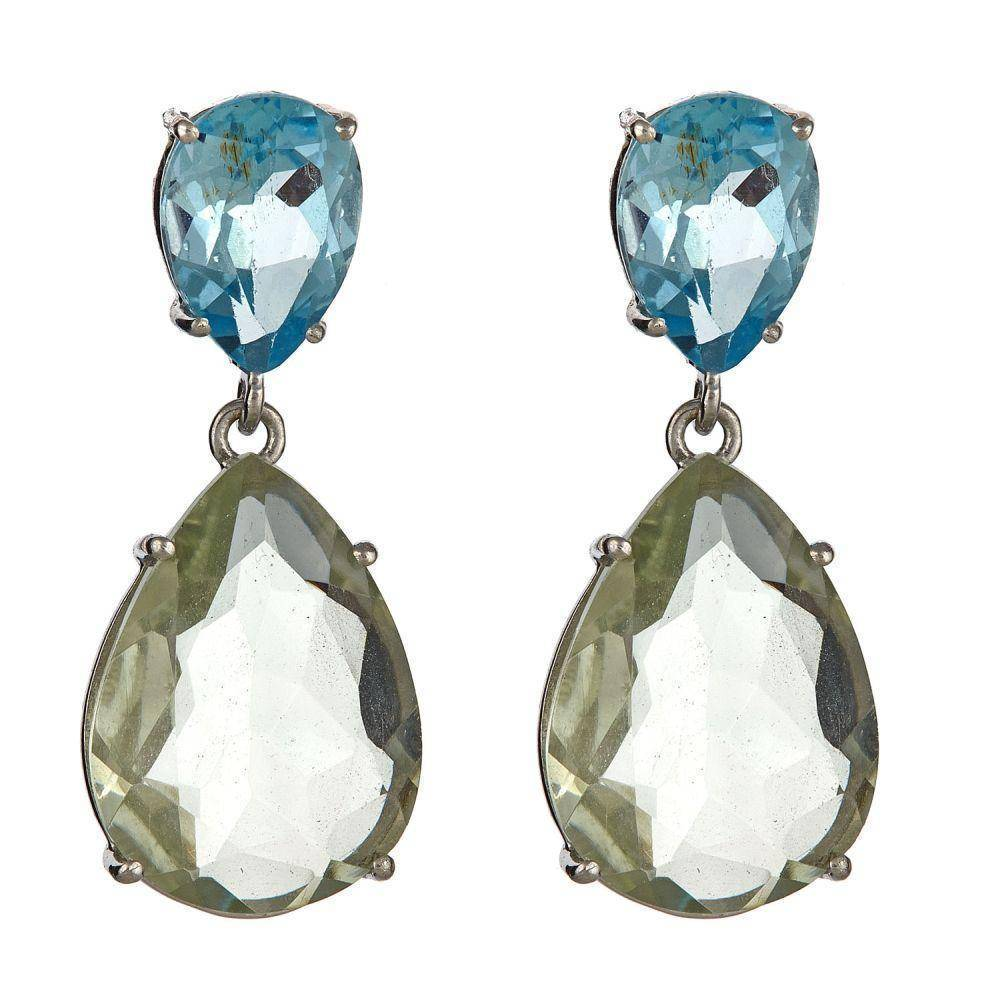 Sterling Silver Blue Topaz and Green Amethyst Earrings