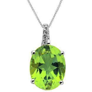 58c377ddc Peridot Sterling Silver Pendant with Peridot and Diamond Accent ...