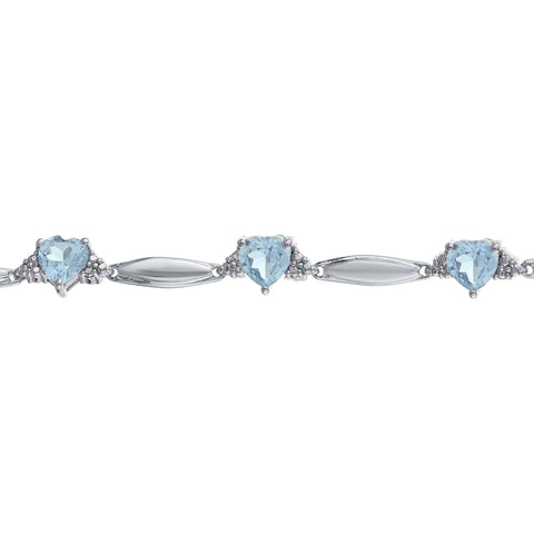 Image of Lavari - Sterling Silver Multi-Heart Gemstone Bracelet with Diamond Accent - 7.25 inch - Women's