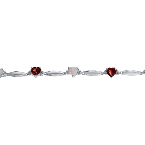 Gemstone and Opal Heart and Diamond Sterling Silver Bracelet - 5 MM