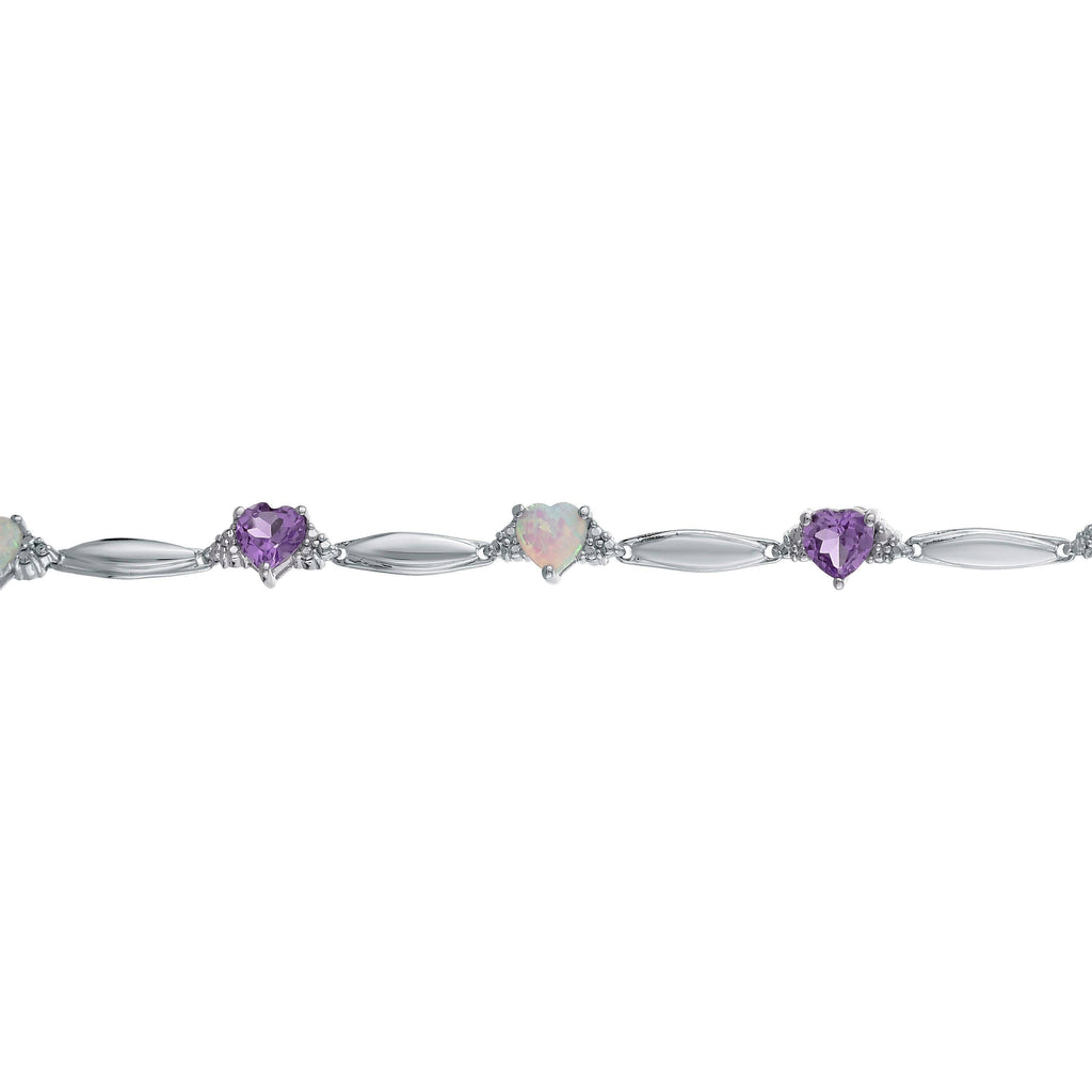 ce6c1c2ea Lavari - Sterling Silver Multi-Heart Gemstone Bracelet with Diamond Accent  - 7.25 inch -. Click to expand