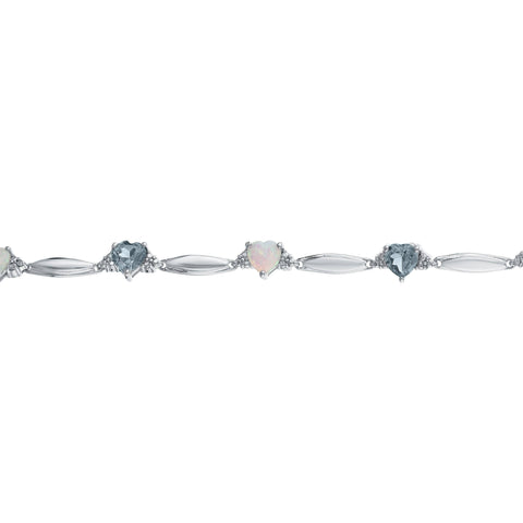 Image of Gemstone and Opal Heart and Diamond Sterling Silver Bracelet - 5 MM