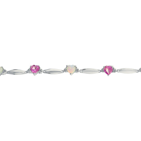 Lavari - Sterling Silver Multi-Heart Gemstone Bracelet with Diamond Accent - 7.25 inch - Women's