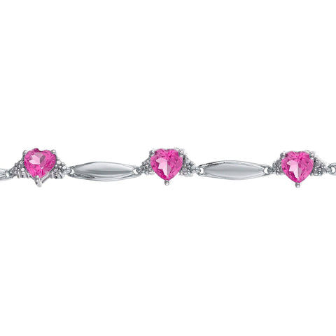 Lavari Jewelers - Sterling Silver Multi-Heart Gemstone Bracelet with Diamond Accent - 7.25inch - Women's