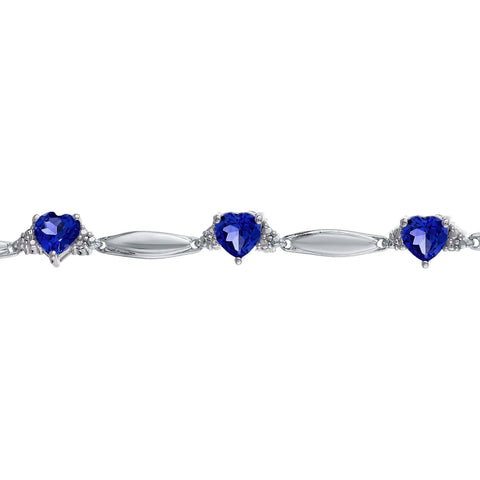 Image of Sterling Silver Heart Bracelet with Diamond Accent