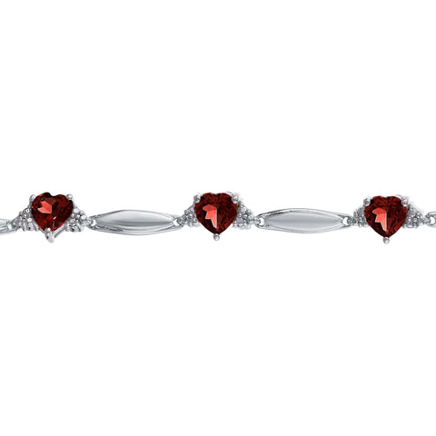 Image of Lavari Jewelers - Sterling Silver Multi-Heart Gemstone Bracelet with Diamond Accent - 7.25inch - Women's