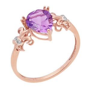 Lavari Pink Amethyst Ring with Diamond Accent in 10K Rose Gold