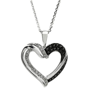 1/7 cttw White Diamond Accent Heart 925 Sterling Silver Pendant