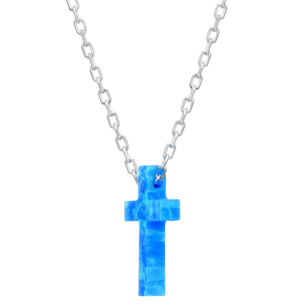 "Lavari Jewelers -Created Blue Opal Cross Pendant Necklace in Sterling Silver - 18"" - Women's"