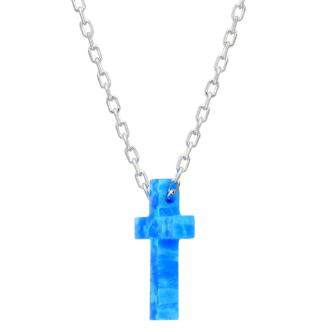"Image of Lavari Jewelers -Created Blue Opal Cross Pendant Necklace in Sterling Silver - 18"" - Women's"