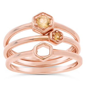 Lavari - Sterling Silver Stackable Ring Set with Citrine - Pink
