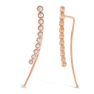 10K Rose Gold Curved Bar Crawler Earrings with 1/3 ct. TDW Diamond
