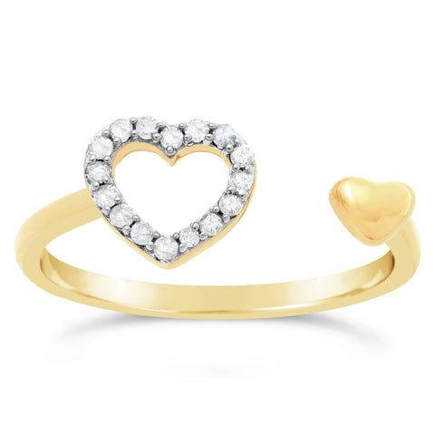 Lavari - 10K Yellow Gold Bypass Heart Ring with Diamonds