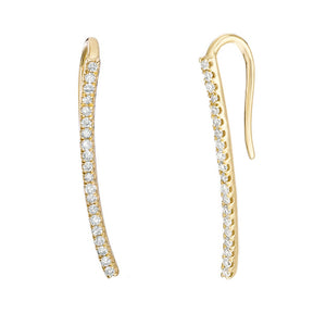10K Gold Curved Bar Crawler Earrings with 1/8 ct. TDW Diamond
