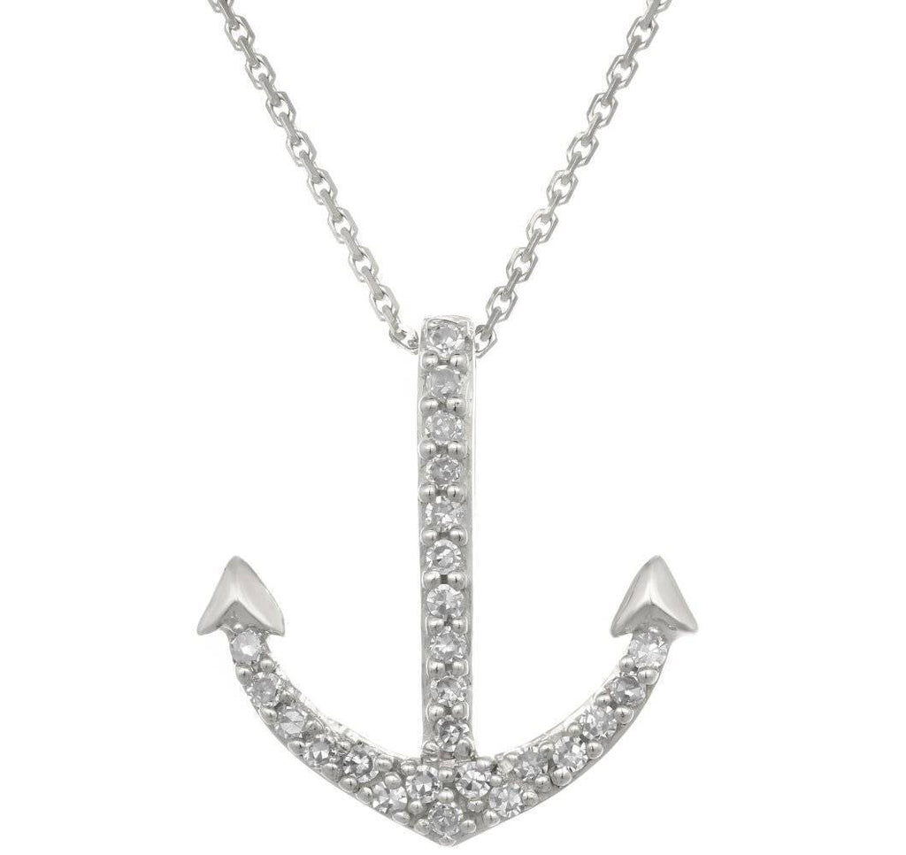 Lavari - 14K Mini Anchor Pendant with .07 cttw Diamonds
