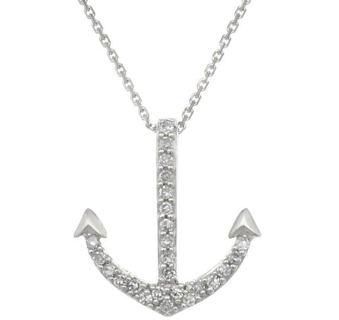 Image of Lavari - 14K Mini Anchor Pendant with .07 cttw Diamonds