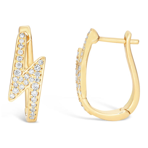 Lavari - 10K Gold Lightning Earrings with 1/4 ct. TDW Diamond