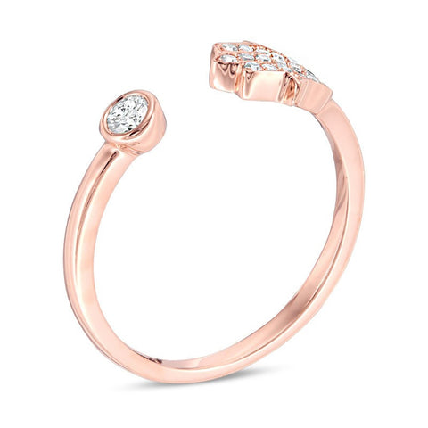 Lavari - 10K Rose Gold Bypass Hamsa Ring with Diamonds