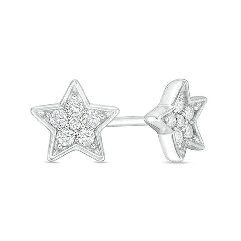 Image of Lavari - 10K White Gold Star Stud Earrings with Diamonds - 0.14 cttw.