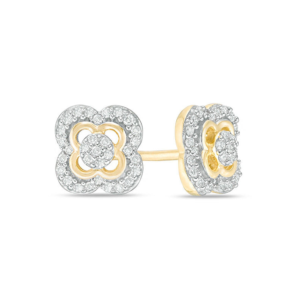 Lavari - 10K Yellow Gold Clover Frame Stud Earrings with Diamonds