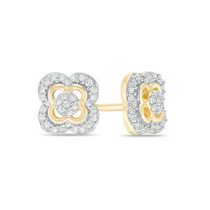10K Gold Clover Frame Stud Earrings with 1/8 ct. TDW Diamond