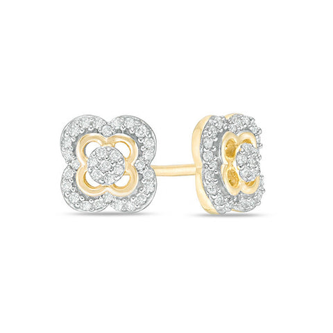 Image of Lavari - 10K Yellow Gold Clover Frame Stud Earrings with Diamonds