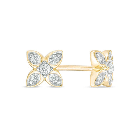 10K Gold Flower Stud Earrings with 1/7 ct. TDW Diamond