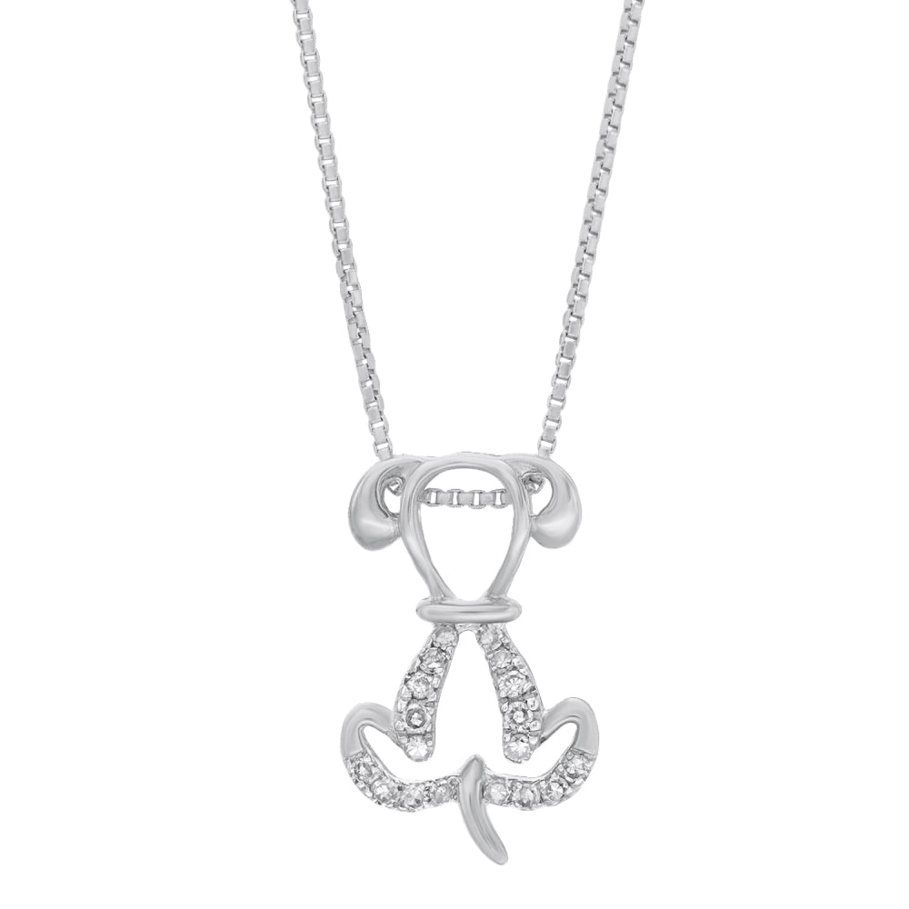 Lavari - Women's Dog Pendant with Diamonds - Sterling Silver