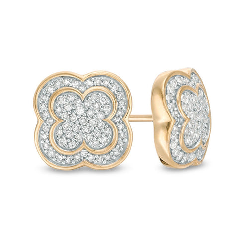 Image of Lavari - 10K Yellow Gold Clover Stud Earrings with Diamonds