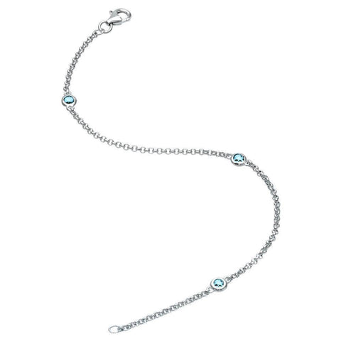 Image of Lavari - Sterling Silver Birthstone Bracelet with Three Stones