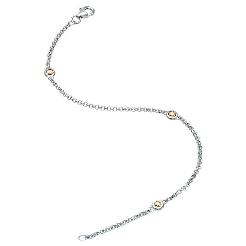 Lavari - Sterling Silver Birthstone Bracelet with Three Stones