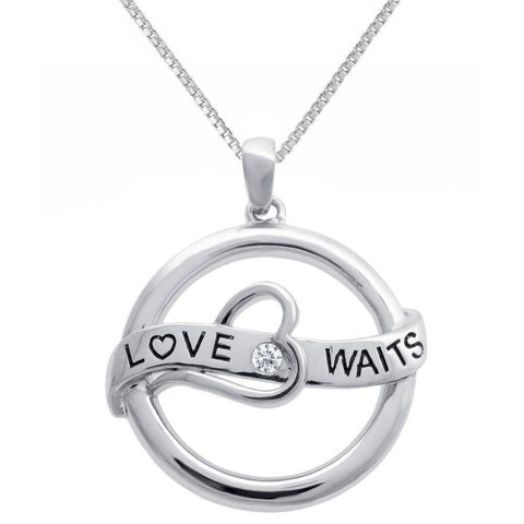 Image of Ladies Silver Heart 'Love Waits' Pendant with .03 cttw Diamond Accent