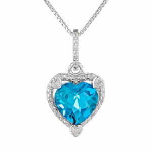Heart-Shaped Birthstone and Diamond Sterling Silver Pendant 18