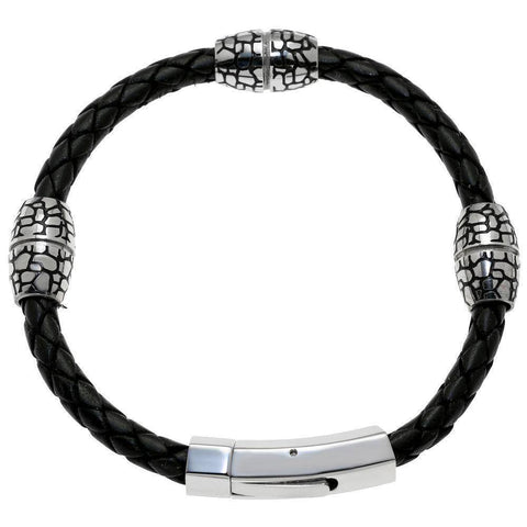 Image of Black Leather and Stainless Steel Bracelet