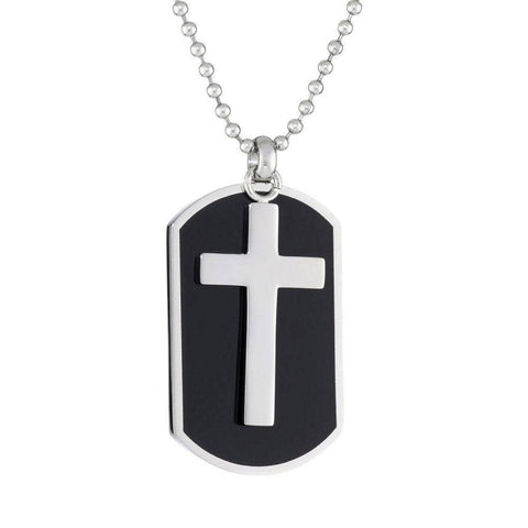 Image of Lavari - Two-Piece Stainless Steel Black Resin Dog Tag and Cross Pendant Necklace, 22""