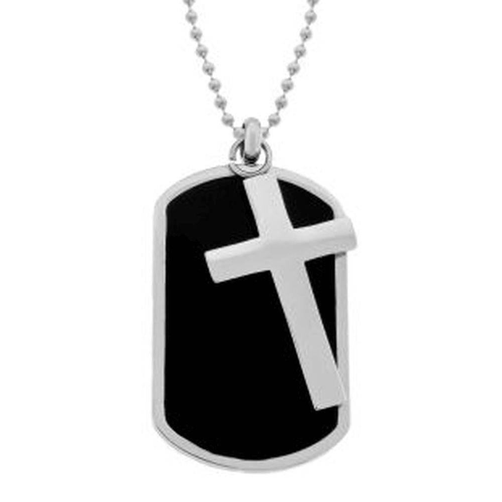 Lavari - Two-Piece Stainless Steel Black Resin Dog Tag and Cross Pendant Necklace, 22""