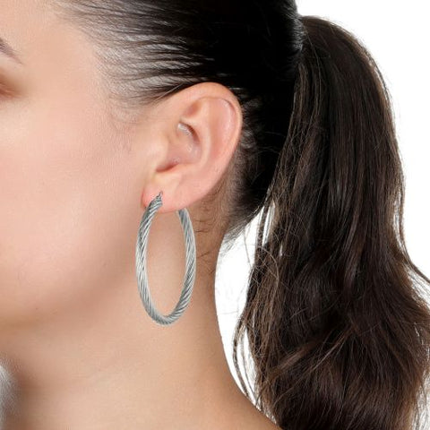 Image of Stainless Steel Twisted Hoop Earrings, 50 mm