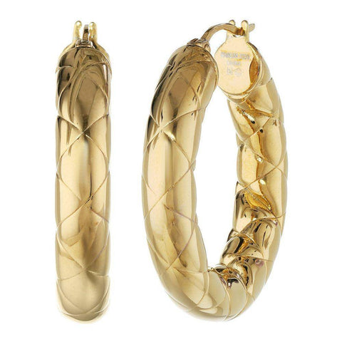 Image of Gold-Tone Stainless Steel Textured Hoop Earrings