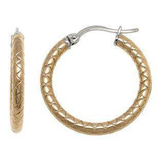 Textured Stainless Steel Fashion Hoop Earrings, 20 mm