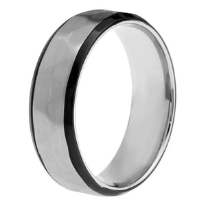Lavari - Hammered Stainless Steel Ring - Size 8-12 - Men's