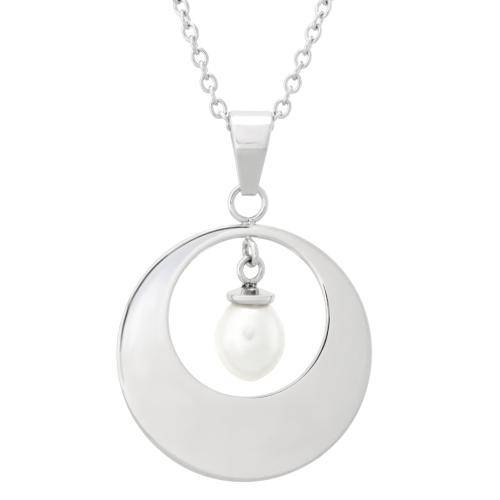 Stainless Steel Pearl in a Circle Pendant